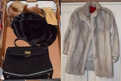 Lot 1071 - Northern export furs, Leeds grey mink fur jacket, two dark mink hats, a stole, black leather...