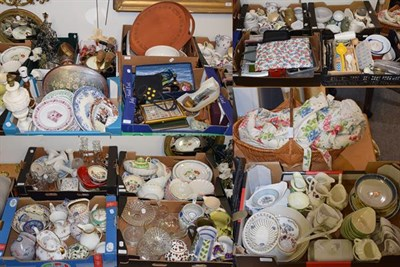 Lot 1072 - Fourteen boxes of various household ceramics, glass and decorative items including jugs, vases,...