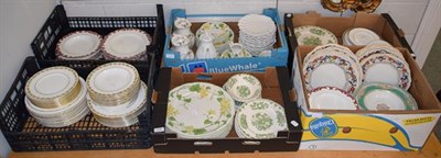 Lot 1078 - Six boxes of decorative dinnerware's including Wedgwood whitewall pattern, Villeroy & Boch...