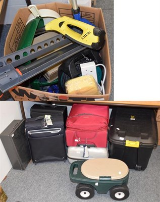 Lot 1079 - Miscellaneous items including Samsonite and various other suitcases, Kartcher chargeable...