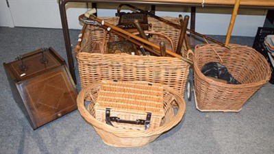 Lot 1082 - Various wicker baskets including a large example, mahogany coal purdonium, carved stools,...