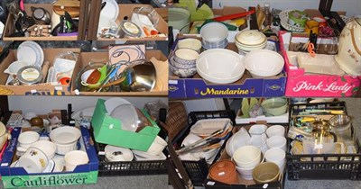 Lot 1083 - Various useful kitchenware's including serving plates, cheese domes, cooking knives, oven...