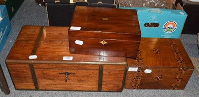 Lot 1089 - A Victorian rosewood brass bound writing slope, a walnut marquetry banded sewing box and a mahogany