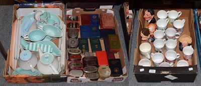 Lot 1090 - Collection of penny money boxes, political mugs and Poole pottery (three boxes)