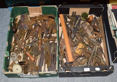 Lot 1092 - Two boxes of assorted specialist engineering tools etc, including metal gauges, J Rabone & Sons...