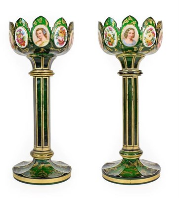 Lot 2 - A Pair of Bohemian White Overlay Green Glass Table Lustres, late 19th century, the castellated...