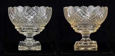 Lot 4 - A Pair of Anglo-Irish Cut Glass Pedestal Bowls, early 19th century, of ovoid form with fan and...