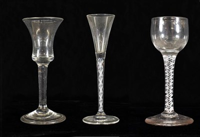 Lot 12 - A Cordial Glass, circa 1750, the ovoid bowl on an opaque twist stem and plain foot, 14cm high;...