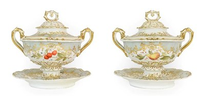 Lot 20 - A Pair of Ridgway Porcelain Sauce Tureens and Covers, circa 1840, of twin-handled scroll...