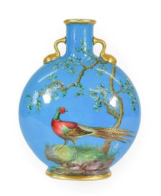 Lot 26 - A Minton Porcelain Moon Flask, probably by William Mussill, circa 1875, painted with a pheasant...