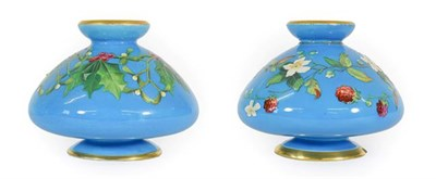 Lot 27 - A Pair of Minton Porcelain Vases, probably by William Mussill, circa 1875, of conical form with...
