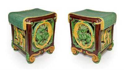 Lot 28 - A Pair of Minton Majolica Garden Seats, 1863, of square form with faux rattan seats over...