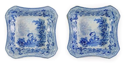 Lot 30 - A Pair of Pearlware Pedestal Bowls, circa 1820, of shaped rectangular form, printed in...