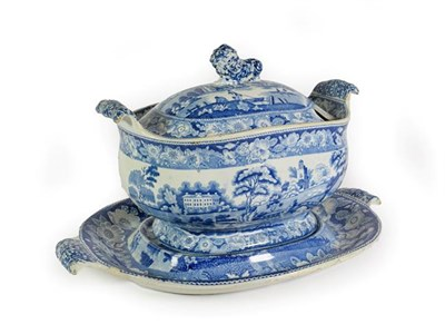 Lot 31 - A Pearlware Soup Tureen, Cover and Stand, circa 1830, with recumbent lion knop and scroll...