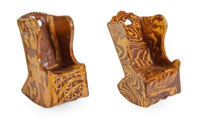 Lot 36 - A Slipware Model of a Lambing Chair, dated 1863, of traditional form, inscribed in raised slip...