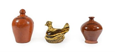 Lot 39 - An Agateware Money Box, late 19th century, in the form of a chicken on a basketweave base, 11cm...