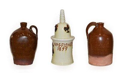Lot 40 - An English Lead Glazed Earthenware Tobacco Jar and Cover, dated 1899, of cylindrical form, the...
