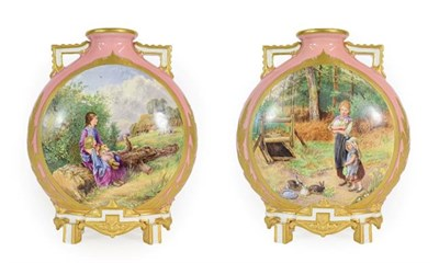 Lot 45 - A Pair of Royal Worcester Porcelain Moon Flasks, circa 1872, with moulded angular handles and feet