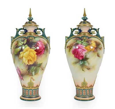 Lot 46 - A Pair of Royal Worcester Hadley Ware Vases and Covers, painted by William Jarman, circa 1905,...
