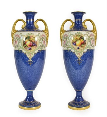 Lot 47 - A Pair of Royal Worcester Porcelain Vases, painted by Horace Price, 1921, of twin-handled...