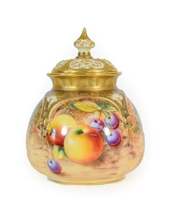 Lot 48 - A Royal Worcester Porcelain Pot Pourri Vase and Pierced Cover, 2nd half 20th century, of lobed oval