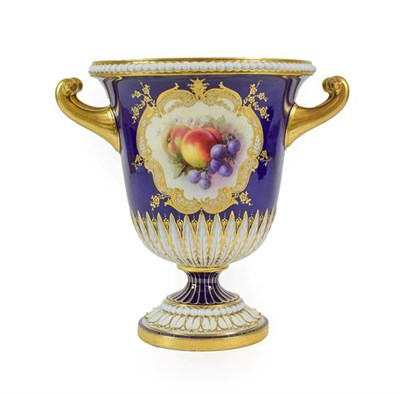 Lot 49 - A Royal Worcester Porcelain Twin-Handled Campana Vase, by Richard Sebright, 1909, painted with...