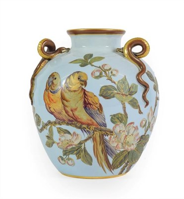 Lot 51 - A Royal Worcester Porcelain Vase, 1887, of ovoid form with triple entwined serpent handles, painted