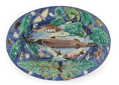 Lot 55 - A Palissy Style Earthenware Dish, late 19th century, of oval form, moulded and applied with...