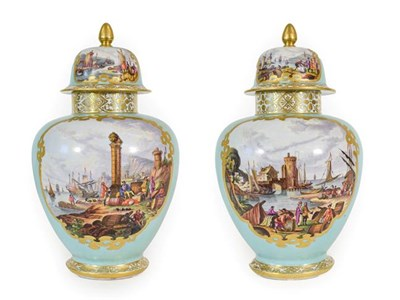 Lot 56 - A Pair of Helena Wolfsohn Porcelain Vases and Covers, 19th century, of ovoid form, painted with...