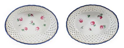 Lot 57 - A Pair of Doccia Porcelain Baskets, circa 1780, of oval form, painted with rose sprigs and buds...