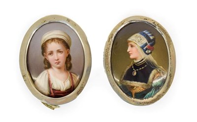 Lot 58 - A Pair of German Porcelain Plaques, late 19th century, of oval form, painted with bust portraits of