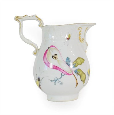 Lot 63 - A Meissen Style Porcelain Milk Jug, of baluster form with Tau handle and scroll spout, painted with