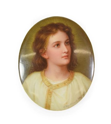 Lot 66 - A Heubach Porcelain Plaque, circa 1900, painted by Hoffmann with bust portrait of a youth wearing a