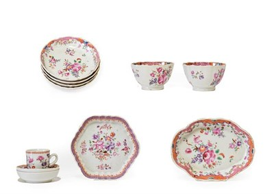 Lot 70 - A Chinese Porcelain Miniature Coffee Cup and Two Saucers, Qianlong, painted in famille rose enamels