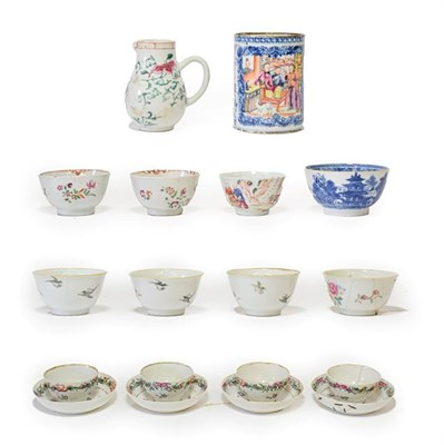 Lot 72 - A Pair of Chinese Porcelain Tea Bowls and Four Saucers, Qianlong, painted in famille rose...