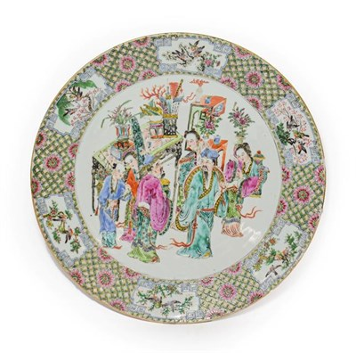 Lot 73 - A Cantonese Porcelain Dish, 19th century, typically painted in famille rose enamels with...
