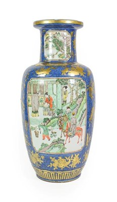 Lot 75 - A Chinese Porcelain Rouleau Vase, Xuande reign mark but not of the period, painted in famille verte