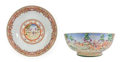 Lot 76 - A Chinese Porcelain European Hunting Scene Punch Bowl, Qianlong, painted in famille rose...