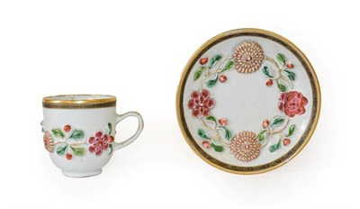 Lot 77 - A Chinese Porcelain Coffee Cup and Saucer, Yongzheng/early Qianlong, moulded and painted in famille