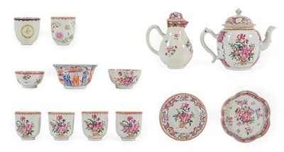 Lot 78 - A Chinese Porcelain Tea and Coffee Service, Qianlong, painted in famille rose enamels with...