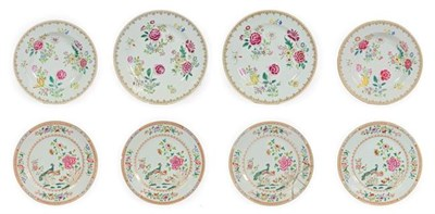 Lot 79 - A Set of Four Chinese Porcelain Plates, Qianlong, painted in famille rose enamels with peacocks...