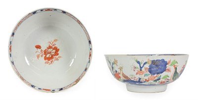 Lot 80 - A Chinese Porcelain Punch Bowl, Yongzheng/Qianlong, painted in Imari and famille rose with...