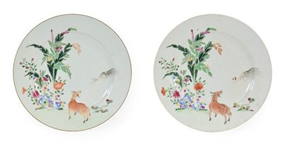 Lot 82 - A Pair of Chinese Porcelain Plates, Qianlong, painted with famille rose enamels with a deer and...