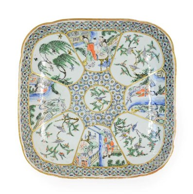 Lot 83 - A Cantonese Porcelain Dish, early 19th century, of square form, painted in famille verte...