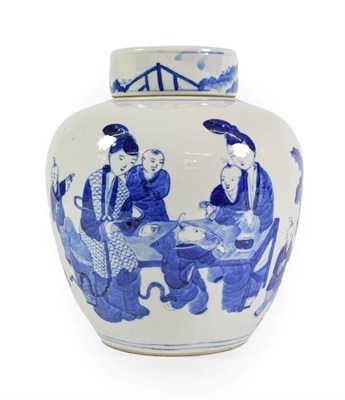 Lot 84 - A Chinese Porcelain Jar and Cover, late 19th century, of ovoid form, painted in underglaze blue...