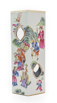 Lot 85 - A Chinese Porcelain Hexagonal Hat Stand, with quatrefoil piercing, painted in famille rose...
