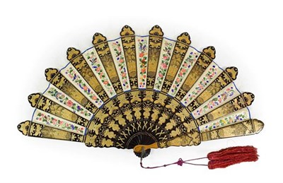 Lot 87 - A Chinese Lacquer and Silk Mandarin Fan, mid 19th century, the silk panels embroidered with...