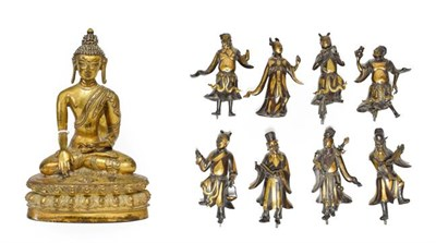 Lot 90 - A Sino-Tibetan Gilt Bronze Figure of Buddha, in 17th century style, seated on a lotus cast...