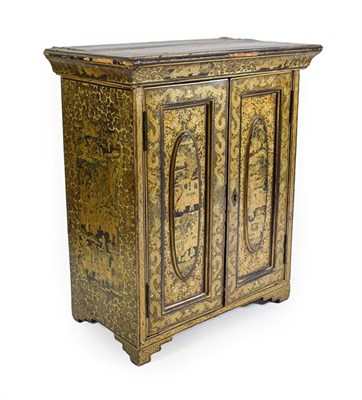 Lot 95 - A Chinese Export Lacquer Table Cabinet, mid 19th century, the cavetto cornice over two panelled...