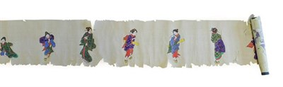 Lot 97 - Japanese School (Meiji period): A Rice Paper School, painted gouache and gilt with various maidens